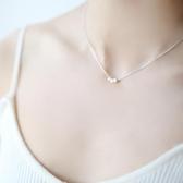 優一居 韓式小清新簡約方塊吊墜手工素銀S純銀氣質短項鍊鎖骨鍊禮物女