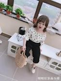女童長袖襯衫-女童夏季小清新甜美一字肩中袖 喇叭袖圓點兒童T恤襯衫領上衣 糖糖日系