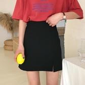 韓版寬鬆高腰百搭開叉A字裙學生顯瘦包臀裙短裙半身裙潮 黛尼時尚精品