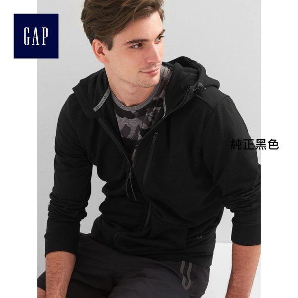 GapFit男裝 刷毛拉鏈休閒外套 790449-1純正黑色