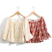 早秋上市[H2O]露肩兩穿棉質刺繡七分袖上衣 - 紅/卡色 #0655004