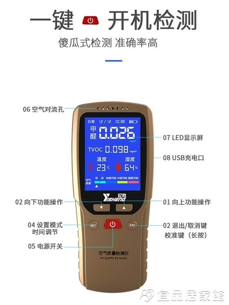 檢測儀 憶勝甲醛檢測儀專業新房家用室內多功能空氣質量甲醛測試儀器紙盒 宜品居家