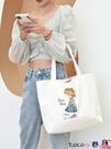 熱賣帆布包 帆布袋女單肩大學生書包大容量環保購物袋2021年新款夏手拎布袋子 coco