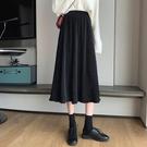 金絲絨半身裙 秋季年女裙子黑色金絲絨半身裙高腰顯瘦a字中長裙百褶裙 唯伊時尚