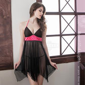 大尺碼睡衣 Annabery黑色綁脖二件式柔紗睡衣 緞面【SV6746】快樂生活網