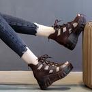 春夏新洞洞涼靴坡跟厚底媽媽涼鞋魚嘴系帶高跟軟皮民族風羅馬女鞋 快速出貨