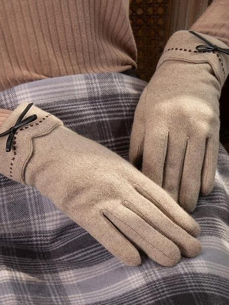 手套女士羊毛蝴蝶結加絨加厚騎行保暖手套【少女顏究院】