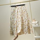 2021春裝新款韓版時尚高腰印花雪紡碎花半身裙A字中長款包臀裙子 小天使