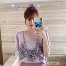 夏季韓版新款寬鬆圓領泡泡短袖假兩件小碎花...