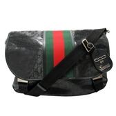 GUCCI 古馳 黑色PVC紅綠編織斜背包 500 By Gucci Messenger Bag 269376 【BRAND OFF】