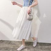 半身洋裝 秋冬季半身裙女中長款雪紡長裙白色蛋糕裙高腰洋裝冬天配毛衣【快速出貨】