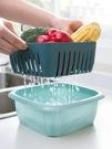 菜籃 廚房雙層洗菜盆瀝水籃水果籃家用客廳帶蓋果蔬盤塑料菜籃子【快速出貨八折搶購】