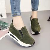 鞋女樂福鞋女單鞋平底鬆糕厚底鞋休閒運動鞋內增高女鞋 優家小鋪