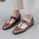 方頭一字扣女鞋 粗跟淺口鞋 韓版小皮鞋/2色-夢想家-標準碼-0310