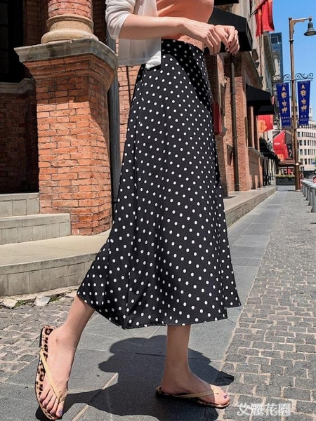 2019夏新款高腰波點半身裙中長款女a字雪紡適合胯大腿粗的長裙子『艾麗花園』