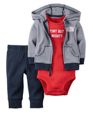 【美國Carter's】套裝三件組-條紋連帽純棉外套+短袖純棉包屁衣+純棉長褲 126G288