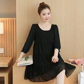 孕婦裝 (雪紡連身裙)-純色優雅圓領舒適女連衣裙3色73mx2[時尚巴黎]