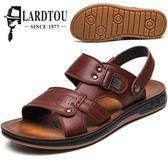 男士涼鞋男皮沙灘鞋新款夏季潮流皮涼鞋拖鞋牛筋底男鞋