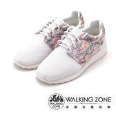 WALKING ZONE 花漾蕾絲網布運動慢跑 女鞋-白(另有黑)