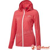 Wildland 荒野 0A61905-15珊瑚紅 女可溶紗環保透氣外套 彈性延展/輕薄透氣/連帽防曬/運動休閒/夾克