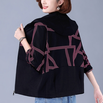 大碼女裝外套~大碼短款外套女中媽媽裝衛衣寬松女夾克衫1F159A莎菲娜