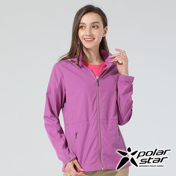 PolarStar 女 休閒抗UV連帽外套『紅紫』P20110 戶外 休閒 露營 防曬 透氣 吸濕 排汗 彈性 抗紫外線