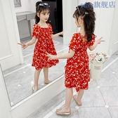 女童洋裝 女童雪紡連身裙夏新款洋氣中大兒童吊帶裙女孩夏裝過膝長裙仙 JX2680 『優童屋』