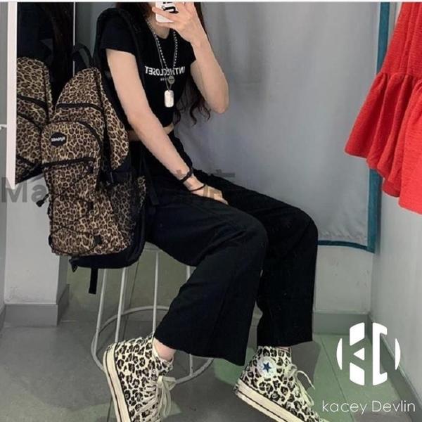 書包風韓國百搭酷豹紋背包大容量雙肩包多功能學生包【Kacey Devlin】