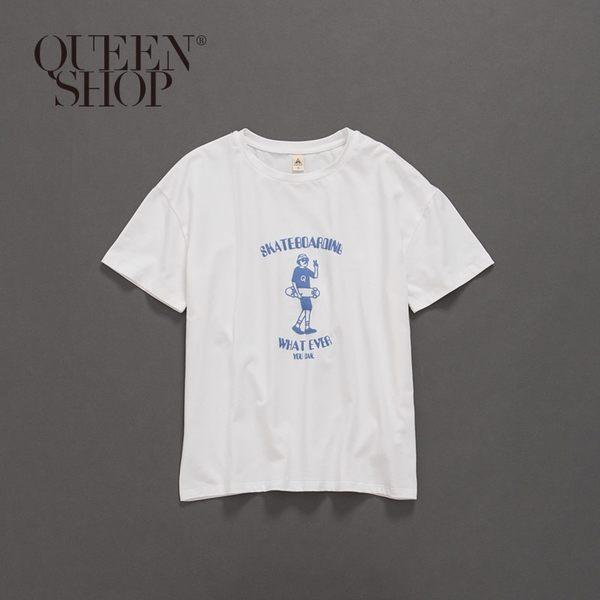 Queen Shop【01037658】趣味滑板少年字母印花短T 兩色售 1/2/3/4*現+預*