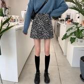短裙 韓版百搭高腰A字斑馬紋半身裙秋冬天配毛衣新款短裙子