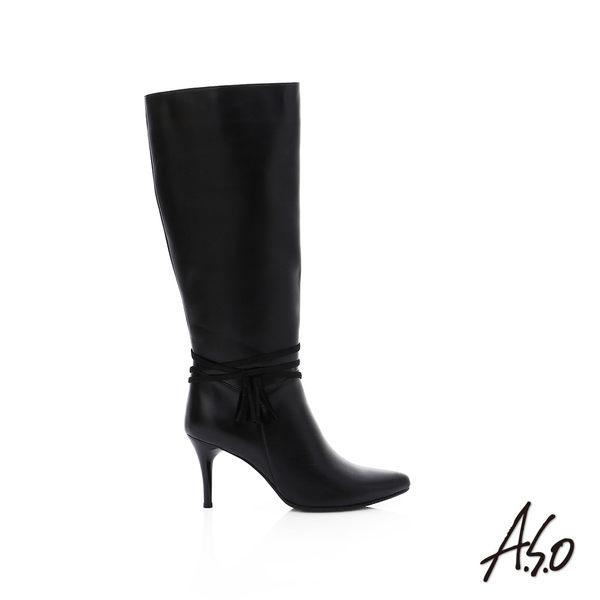 A.S.O 保暖靴 真皮流蘇綴飾細跟長靴  黑