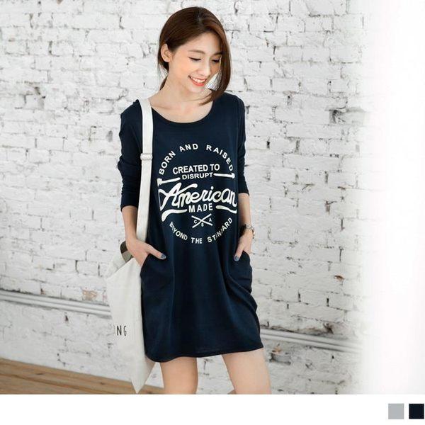 《DA2802-》純色美式風格燙印休閒洋裝.2色 OB嚴選