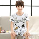 夏季兒童睡衣男童夏天純棉短袖薄款套裝中大童卡通 歐韓時代