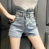 牛仔短褲 短褲夏季新款超高腰薄款a字顯瘦小個子淺色牛仔闊腿褲女士 - 巴黎衣櫃