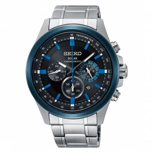 SEIKO三眼計時太陽能腕錶