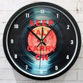 黑膠唱片掛鐘錶(黑框)