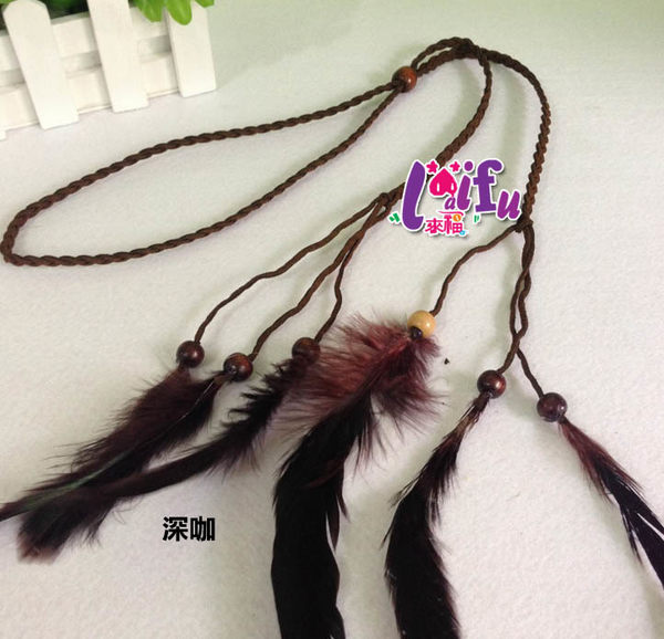 ★草魚妹★H532髮飾波西米亞民族風手工製作羽毛串珠造型編織流蘇髮帶髮箍髮圈,售價130元