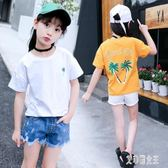女童T恤 短袖5小女孩7圓領上衣??中大童t?12歲兒童裝 LJ2391【艾菲爾女王】