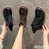娃娃鞋 秋冬新款日系大頭娃娃鞋平跟系帶休閒文藝森系女靴短靴馬丁靴女靴 萊俐亞 交換禮物