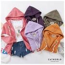 Catworld 正韓空運*百搭內刷毛抽繩連帽外套【15003432】‧F/XL