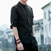 七分袖襯衫中國風男裝大碼七分袖盤扣亞麻襯衫立領民族棉麻上衣中袖唐裝春夏 曼莎時尚