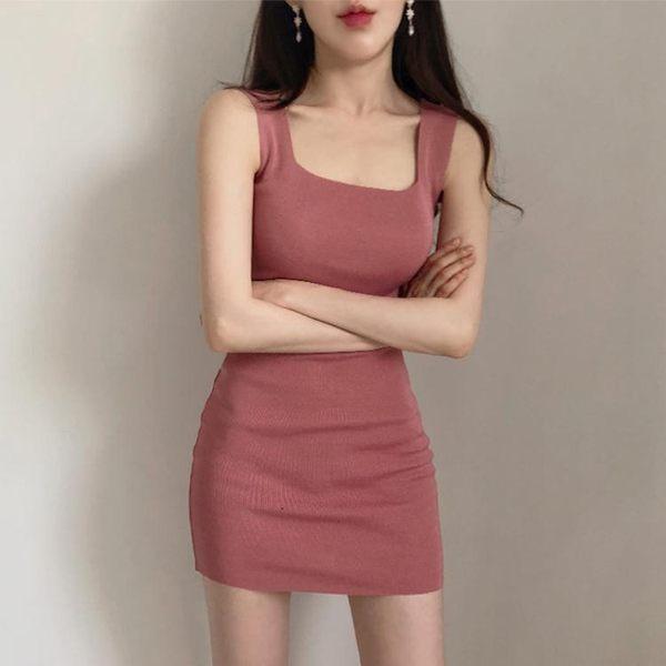 韓國針織洋裝女夏無袖打底短裙修身性感包臀時尚背心裙 【時尚新品】
