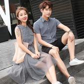 POLO情侶衫POLO衫 氣質情侶裝夏裝新款韓版寬鬆短袖T恤英倫學院風襯衫女連身裙洋裝