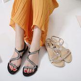 坡跟涼鞋 羅馬涼鞋 新款歐美 女涼鞋水鑽坡跟時尚大碼涼鞋韓版女鞋子【多多鞋包店】ds3842