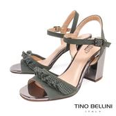 Tino Bellini 巴西進口百摺牛皮緞帶高跟涼鞋 _ 綠 B83224 歐洲進口款