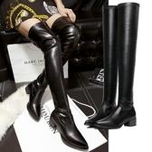 低跟長靴-素面顯瘦尖頭高筒女馬丁靴73is23[時尚巴黎]