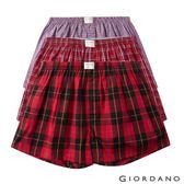 【GIORDANO】男裝純棉寬鬆平底四角褲三件裝-01 紅格子