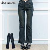 牛仔褲--絕對顯瘦素面側邊車線中腰小喇叭牛仔褲(S-7L)-N31眼圈熊中大尺碼★