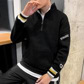 男士帶領長袖T恤春秋款韓版潮流有領連帽T恤男寬鬆衛生衣打底衫上衣服 Cocoa