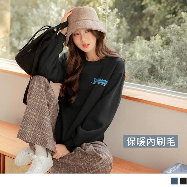《AB14306-》台灣製造。保暖內刷毛英字印花長袖衛衣大學T上衣 OB嚴選